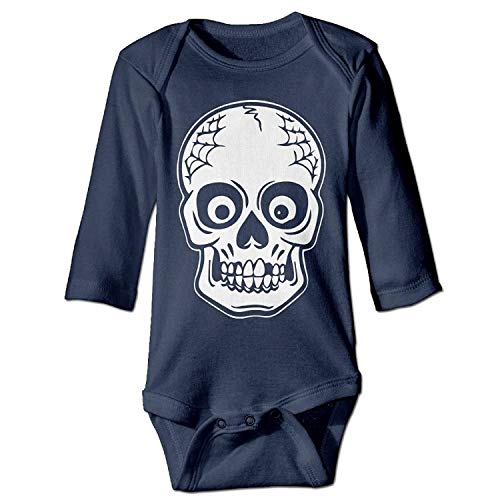 MSGDF Unisex Toddler Bodysuits Halloween Skeleton Baby Babysuit Long Sleeve Jumpsuit Sunsuit Outfit Navy