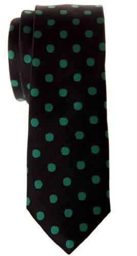 Retreez Cravate fin classique en microfibre tissée à pois–Différentes couleurs Vert - Black with Green Dots
