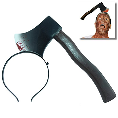 EROSPA® Halloween Haarreif Beil Axt im Kopf Blut Verletzung Horror Klinge Kostüm Scary Karneval Fasching