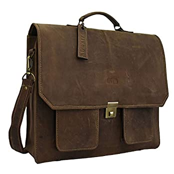 Adwaita 18 inch full grain leather World First 4 in 1 messenger laptop bag cum backpack with rain cover(Version-3.0)