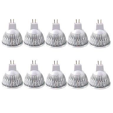 3W GU5.3(MR16) Spot LED MR16 1 COB 250-300 lm Blanc Chaud Blanc Froid Intensité Réglable Décorative AC 12 AC 110-130 V 10 pièces ( Couleur de source : Blanc froid , Tension : 12V )