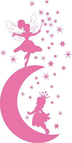 GRAZDesign Wandtattoo Wohnzimmer Mond mit Feen - Wandaufkleber Sterne - Swarovski Aufkleber für Kinderzimmer - Wandtattoo Mädchen / 79x40cm / Hellrosa / 850127_40_045