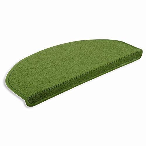 casa pura® attraktive Stufenmatten für kleine & schmale Treppenaufgänge | hellgrün | 15 Stück