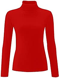 Home of Fashion Ribbed Cotton Polo Neck Long Sleeved Top - Various Colours