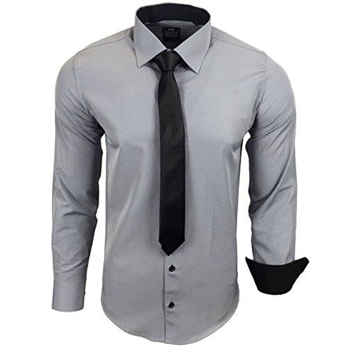 Rusty Neal R-44-KR Herren Kontrast Hemd Business Hemden mit Krawatte Hochzeit Freizeit Fit Grau