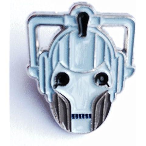 Spilla in metallo smaltato, motivo Dr. Who-Statuetta di Cyberman Doctor nemici Cyber Man (Face)