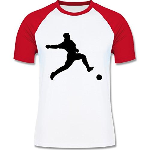 Fußball - Fußball - zweifarbiges Baseballshirt für Männer Weiß/Rot