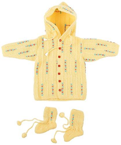 Kuchipoo Hand Knitted Sweater Set (Yellow, 0 to 1 Year)