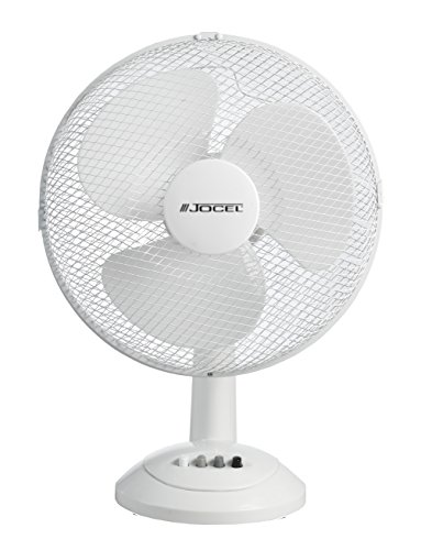 Jocel JVM030597 Ventilador de Sobremesa, 45 W, Plástico, 3 Velocidades, Blanco