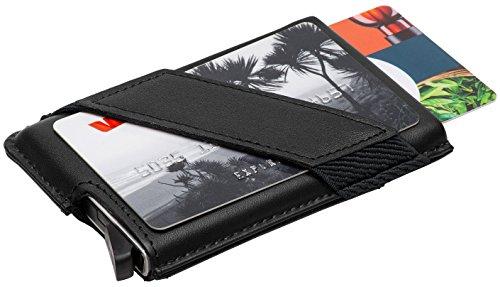 Kartenetui mit Geldklammer Echtleder / bis zu 9 Karten in 2 Farben, Pop-Up Hebel / Kreditkartenetui Herren / Männer Etui aus Aluminium und Leder / Ideal als Weihnachtsgeschenk RFID & NFC Schutz