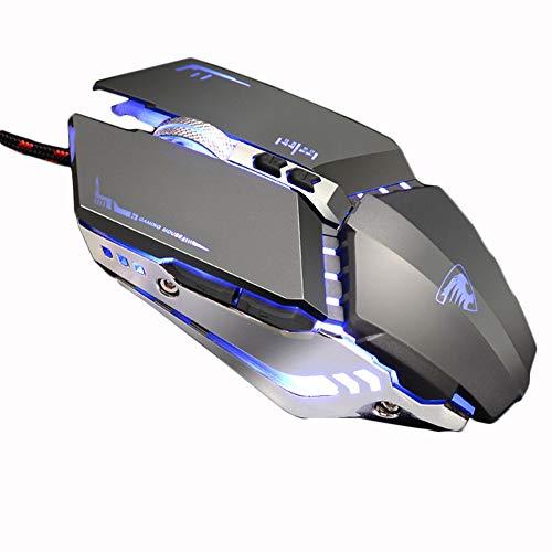 WERNG Gaming-Maus, optische kabelgebundene Maus, DPI-Einstellung für 4 Geschwindigkeiten, 4 Arten von Loop-Lichtern, 7 Tasten, ergonomisches Design, geeignet für Computer, Laptops