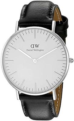 Daniel Wellington - Reloj analógico para mujer, correa de cuero, color negro