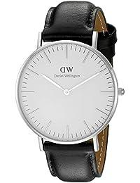 Daniel Wellington - 0608DW - Sheffield - Montre Mixte - Quartz Analogique - Cadran Argent - Bracelet Cuir Noir