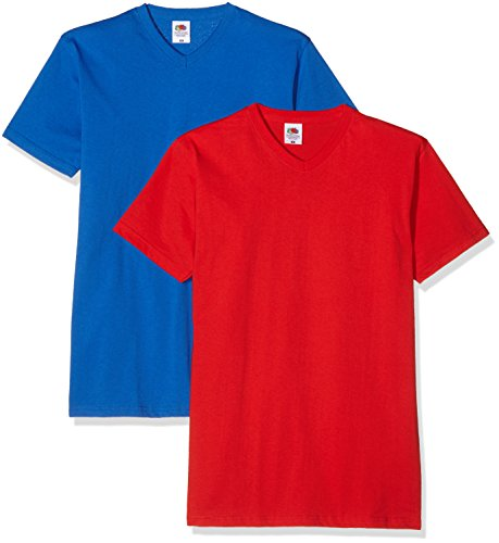 Fruit of the Loom Herren T-Shirt Valueweight V-Neck T Blau (Azul/Rojo)