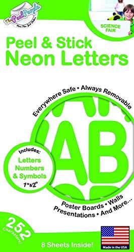 The Peel People Aufkleber Buchstaben und Zahlen, 2,5 cm und 5 cm, Neongrün, 252 Stück -