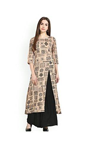 AnjuShree Choice Women's Cotton Stitched A-Line Kurti (Off White_Medium)