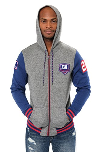 en Fleece-Kapuzenpullover Letterman Varsity Jacket, Teamfarbe, Herren, Full Zip Fleece Hoodie Letterman Varsity Jacket, Team Color, blau, X-Large ()