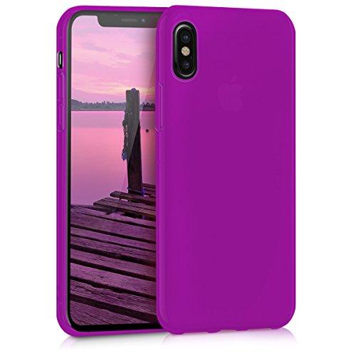 kwmobile Apple iPhone X Hülle - Handyhülle für Apple iPhone X - Handy Case in Neon Violett