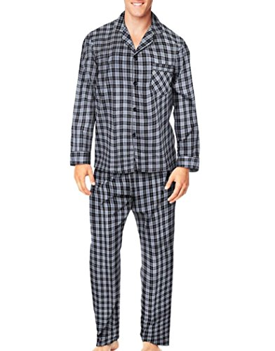 Hanes Herren Schlafanzug Grey/Black Plaid