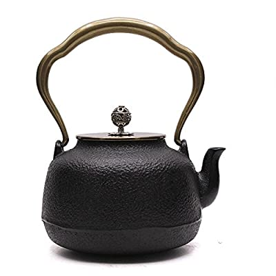japonaise Théière en fonte Théière bouilloire à thé Noir 0.8L