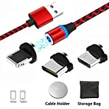 Magnet USB Kabel 3-in-1 Multi Micro、L、Type USB C 2.0 Magnetisches Ladekabel(Keine Sync-Daten) Charger Magnetkabel in Schwarz mit Magic Cable Halter für Android Phone Samsung Galaxy