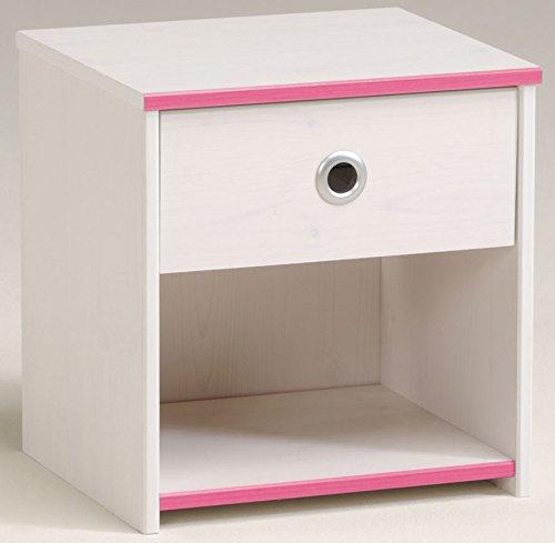 Nachtkommode weiß pink Mädchen Nachttisch Nachtkonsole Nachtkästchen Nako Abladetisch Kinderzimmer Jugendzimmerkommode Nachtschrank