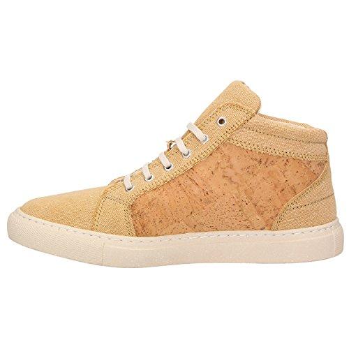 ZWEIGUT® -Hamburg- echt #404 Herren High-Top Kork Schuhe Freizeit Sneaker vegan und nachhaltig, Schuhgröße:47, Farbe:sand-kork - 3