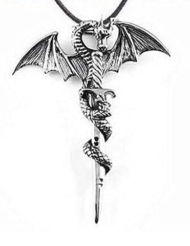 Collier, pendentif dragon entourant une épée, acier vintage,