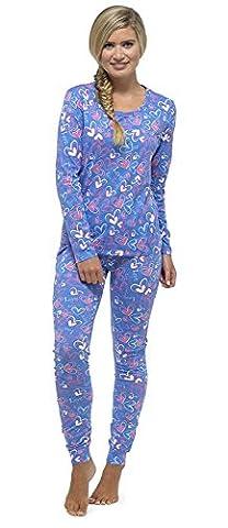 Ladies All Over Print Jersey Legging Pyjama Set BLUE