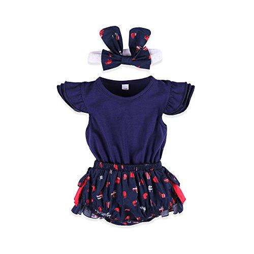 ESHOO Kleinkind Baby Mädchen Herz Bedruckt Strampler mit Stirnband Outfits (Für Verkleiden Mädchen Nur Sich)