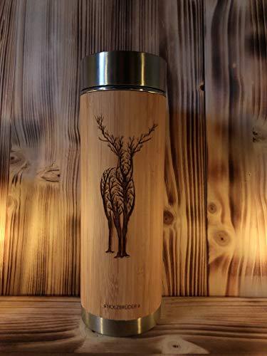 HOLZBRÜDER® Thermoskanne Hirsch Äste aus Bio Bambus gelasert perfekt für alle die Natur lieben für Tee und Kaffee