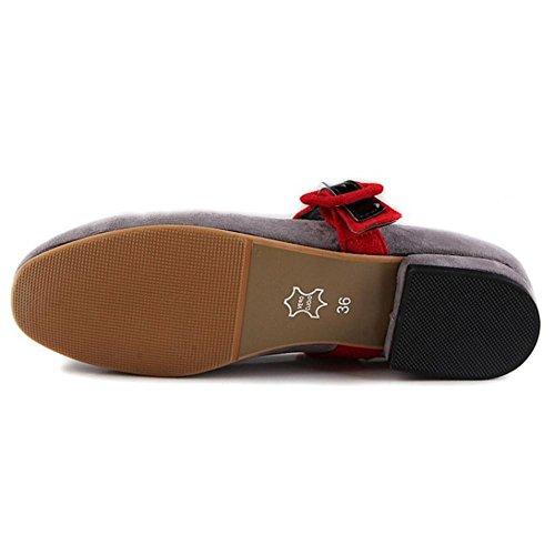 COOLCEPT Femmes Confortableable Bloc Talon Bas Non Slip Court Chaussures Mary Jane Chaussures Gris