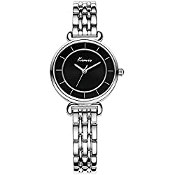 XLORDX Kimio Damen Armbanduhr Minimalismus Edelstahl Armreif Quarz Analog Uhr Schwarz