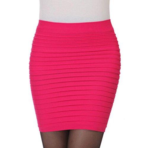 Ba Zha Hei röcke Damen Elastischer Gefalteter Hohe Taillen-Paket-Hüfte-Kurzer Rock der Art- und Weisefrauen-1PC Minirock Damen Schwarz Mini Freizeit Stretch Kurz Knielangen Rock (Pink, Freie Größe) (Kleid Pink Tartan)