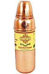 Indian Art Villa Pure Copper Water Bottle, Best For Fridge/Refrigerator Bottle, Home Use Only, 700 Ml