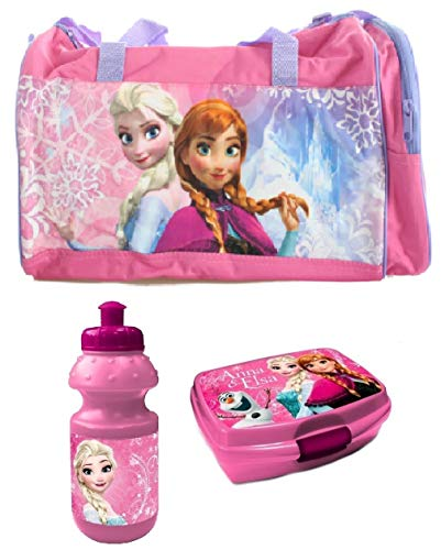 Trendstern Trendprodukteshop Frozen Disney Tasche Die Eiskönigin Reisetasche 3'er Set Sporttasche+Lunchbox+Trinkflasche