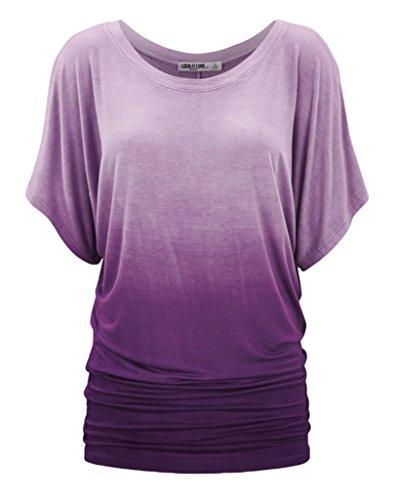 Smile YKK Top Eté Femme T-shirt Manche Courte Blouse Haut Chemise Col Rond Casual Soirée Mode Violet