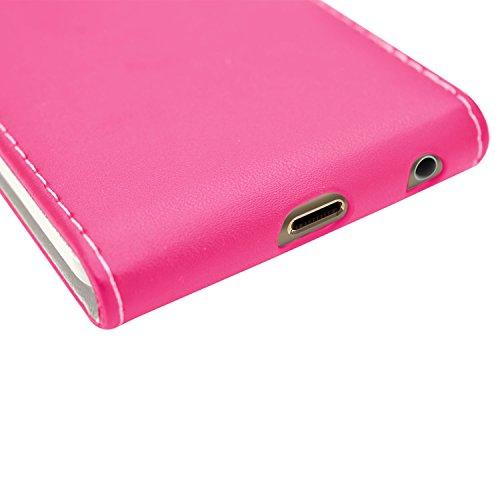 Samrick Leder Flip Schutzhülle mit Schirm Schutz und Microfasertuch für Apple iPhone 6 rosa Pink