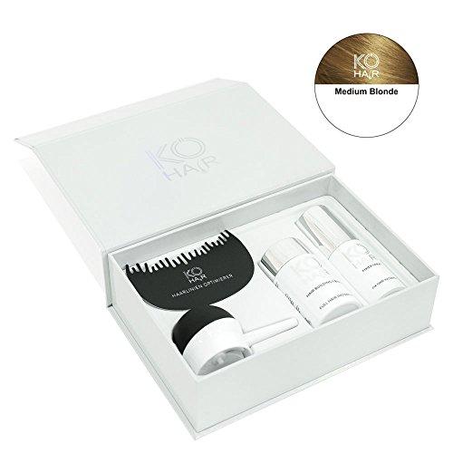 KÖ-HAIR Fiber Set Streuhaar, Applikator Haarlinienoptimierer und Fixier Spray zur Haarverdichtung Farbe Mittelblonde