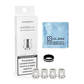 Innokin 4 Pcs E Cig Coils for iTaste Kroma-A Axiom M21 Tank, Genuine Replacement Coil 0.5ohm with ULBRE Cleaning Cloth and Vapeband, Authentic Vaporizer Atomizer Accessories, No Nicotine
