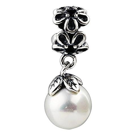 Bead Charms Für Damen Bijou Zwischenelemente Beads Individuelle Reize Mädchen Sterlingsilber 925 Sterling Silver Synthetische Perle Versilbert Weiß Garten Odyssee