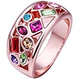 VIKI LYNN Fashion Bling Jewelry Alloy 18K Rose Gold-plated Rhinestone Ring--Size 58