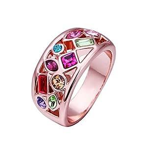 VIKI LYNN - L'Arc En Ciel - Bague Alliance Femme - Alliage Plaqué Or Rose 18 Carats- Cristal Multicolore - Taille 58