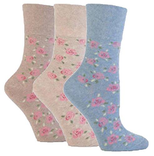 3 Pairs of Ladies Sock Shop Gentle Grip Patterned Socks, Various Designs/Colours, Ladies UK Size 4-8 (Classic Rose)