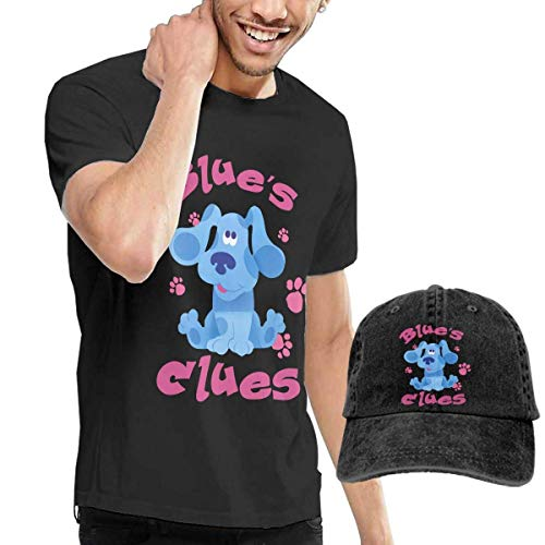 Herren Kurzarmshirt Mens Classic Blue's Clues Dog T-Shirt and Washed Denim Hat Casquette Black ComfortSoft Cotton T-Shirt (Blues Clues 3)