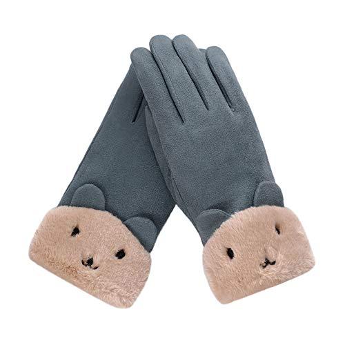 Quaan Damen Sport Handschuhe, Mode Winter Draussen Sport Warm schön Hase Baumwolle Gestrickt Traval Fahrrad Motorrad Handschuhe