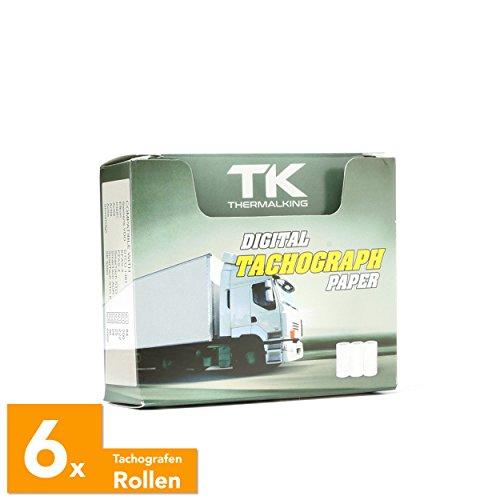 6 Stk. zertifizierte Tachorollen – Tachographenpapier – Thermorollen / Thermopapier für sämtliche digitalen LKW-Tachographen /Fahrtenschreiber – 57/8mm – Thermal King