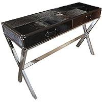 Comparador de precios Casa-Padrino Luxury Desk Cowhide in Black/Brown with 2 Drawers - 121 x 41 x H 81 cm - Luxury Console Table - precios baratos