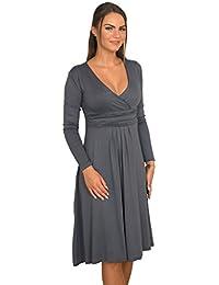Las mujeres de manga larga longitud de la rodilla cuello en V vestido Jersey elástico