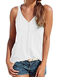 Guesspower Femmes T-Shirt Blouse Gilet Casual Débardeurs Tank Top Chic Ete  sans Manches à Encolure en V Camisole Vetements Été… c2f4762c399